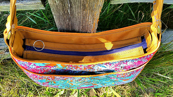 Recessed zipper on the stunning floral Roll With It Tote - Andrie Designs
