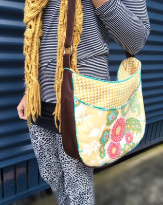 Beautiful yellow and leather Roll With It Tote - Andrie Designs