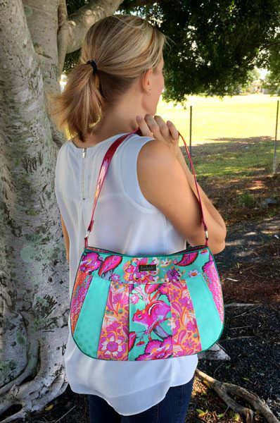 Wide pieced front Sew Compleat Shoulder Tote - Andrie Designs