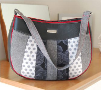 Classic grey, black and white Sew Compleat Shoulder Tote - Andrie Designs