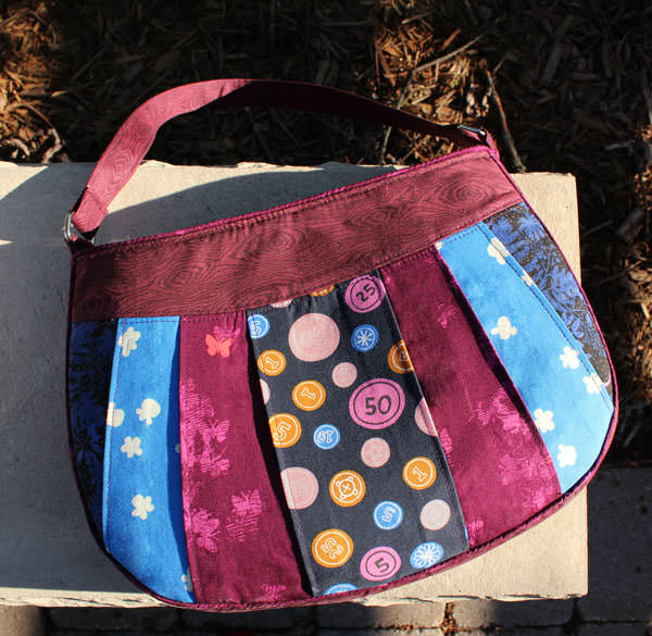 Beautiful magenta and blue Sew Compleat Shoulder Tote - Andrie Designs