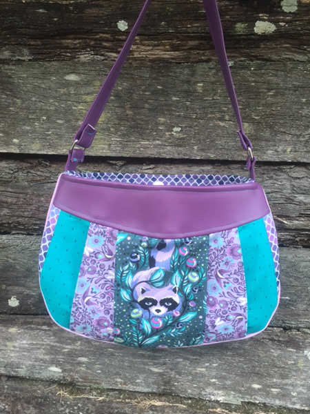 Purple racoon and teal Sew Compleat Shoulder Tote - Andrie Designs