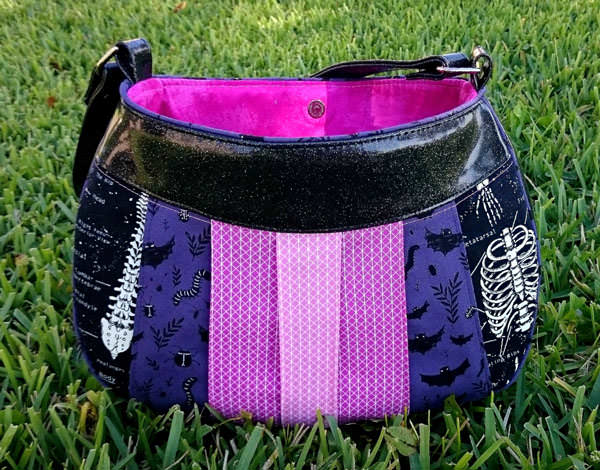 Pretty pink and purple Sew Compleat Shoulder Tote - Andrie Designs