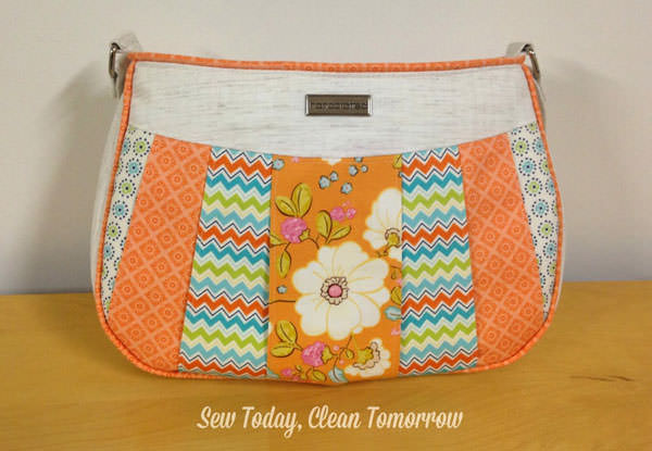 Summery orange-coloured Sew Compleat Shoulder Tote - Andrie Designs