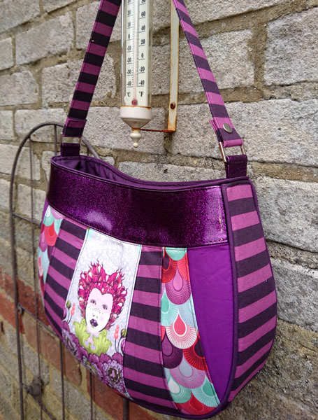 Side view of the Tula Pink-themed Sew Compleat Shoulder Tote - Andrie Designs
