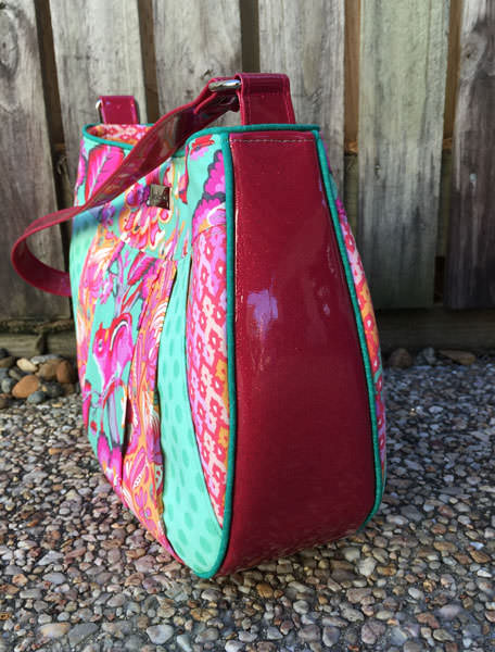 Side view of the wide pieced front Sew Compleat Shoulder Tote - Andrie Designs