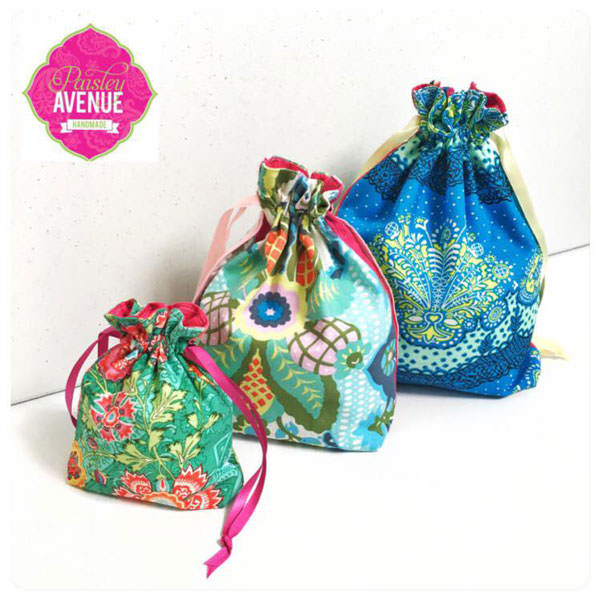Pretty and perfect trio! Super Drawstring Pouch - Andrie Designs