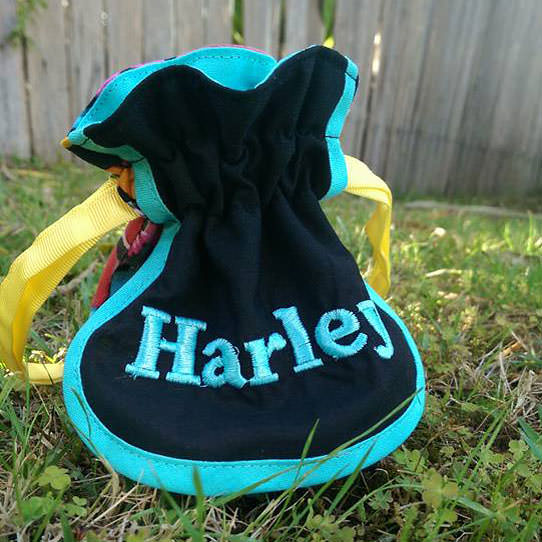 This one belongs to Harley! Super Drawstring Pouch - Andrie Designs