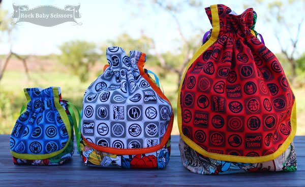 Back view of the super trio - Super Drawstring Pouch - Andrie Designs