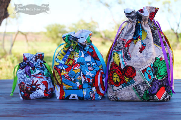 SUPER trio right here!! Super Drawstring Pouch - Andrie Designs