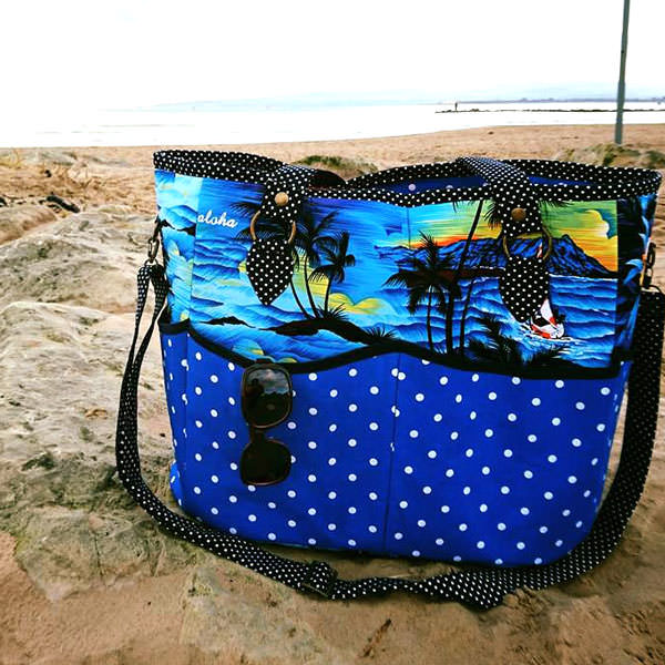 Outside of the beach and polka dots Summer Lovin' Beach Tote - Andrie Designs