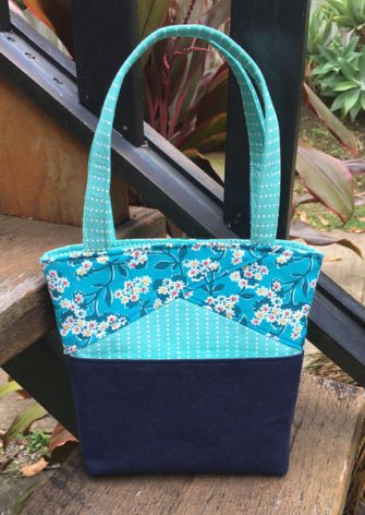 Teal and navy Stand Up Clutch - Andrie Designs
