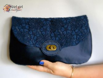 Lace and blue satin The Statement Clutch - Andrie Designs