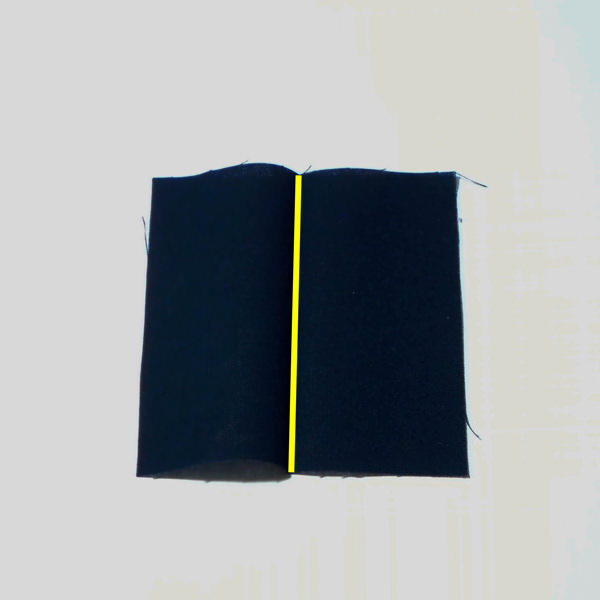 Fold edges toward centre - Carry All Flexi Clutch - Adding a Shoulder Strap: Option #1 - Andrie Designs