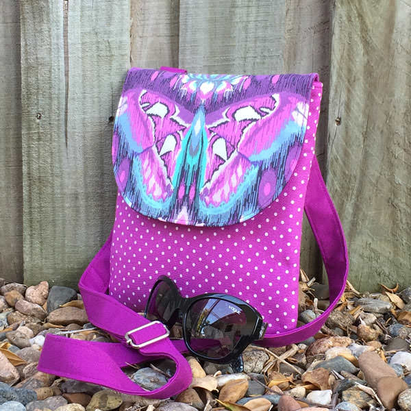 Purple butterfly - Polly Cross Body Pouch - Andrie Designs