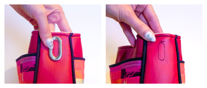 Marking the placement of the grommet - Carry All Flexi Clutch - Adding a Shoulder Strap: Option #3 - Andrie Designs