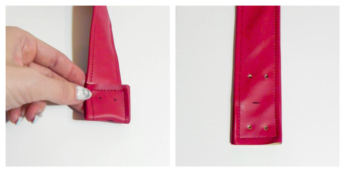 Marking for the rivets - Carry All Flexi Clutch - Adding a Shoulder Strap: Option #3 - Andrie Designs