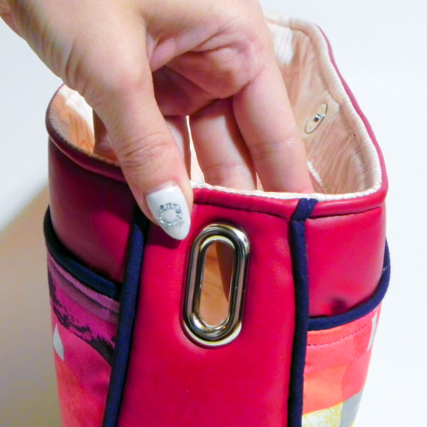Inserting the grommet - Carry All Flexi Clutch - Adding a Shoulder Strap: Option #3 - Andrie Designs