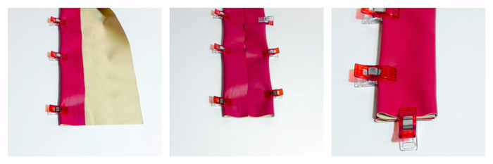 Using clips to hold the vinyl strap - Carry All Flexi Clutch - Adding a Shoulder Strap: Option #3 - Andrie Designs