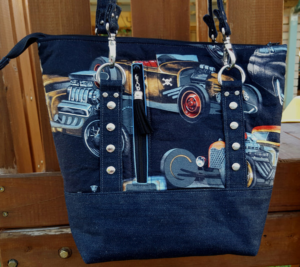 Back view of the classic cars Classic Carryall Handbag & Tote - Andrie Designs