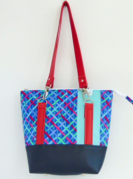 Blue and red cross hatch Classic Carryall Handbag & Tote - Andrie Designs
