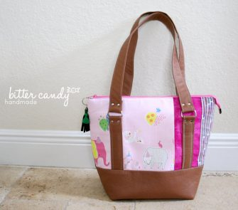 Beautiful pink and tan leather Classic Carryall Handbag & Tote - Andrie Designs