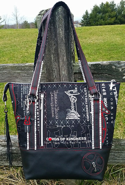 Back view of an absolutely stunning Classic Carryall Handbag & Tote - Andrie Designs