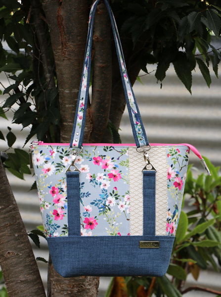 Beautiful blue and floral Classic Carryall Handbag & Tote - Andrie Designs