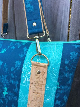 Close up of my teal, cork and leather Classic Carryall Handbag & Tote - Andrie Designs