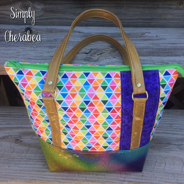 When rainbows meet geometric design! Classic Carryall Handbag & Tote - Andrie Designs