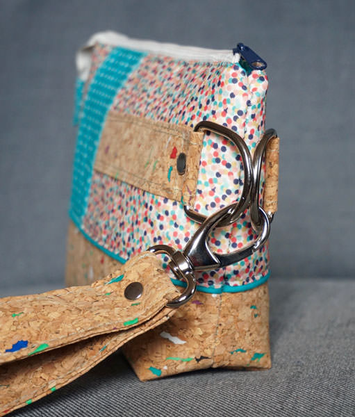 Side view of that colourful cork Classic Clutch - Andrie Designs