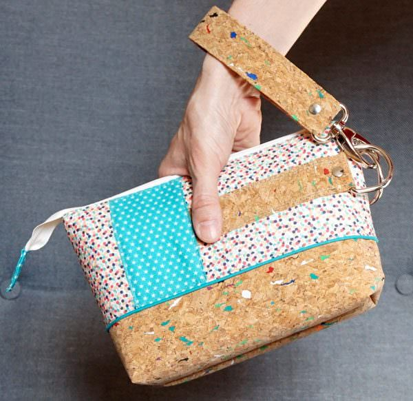 How great is that colourful cork paired with those fabrics?! Classic Clutch - Andrie Designs
