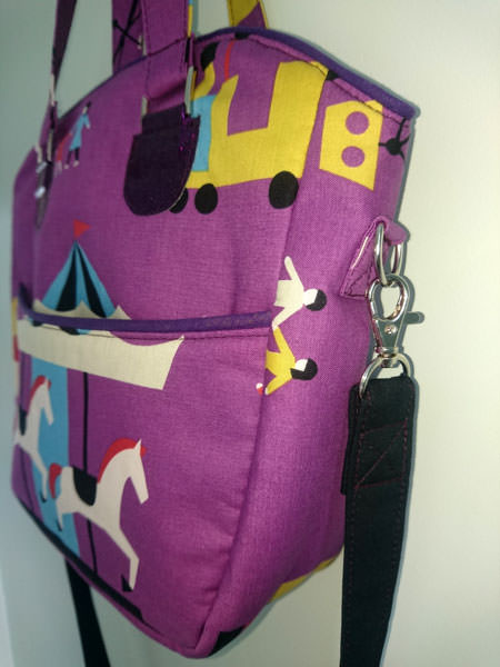 Side view of the purple Creative's Tote - Andrie Designs