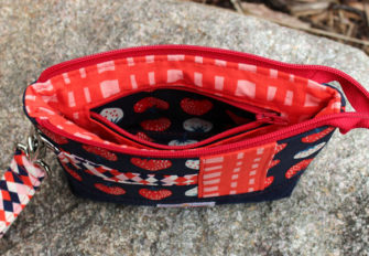 Inside view of the strawberry-themed Classic Clutch - Andrie Designs