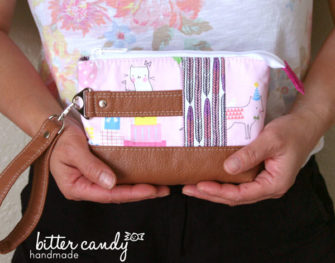How cute is this pink and tan leather Classic Clutch?! - Andrie Designs