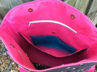Inside view of the grey with a pop of pink Creative's Tote - Andrie Designs
