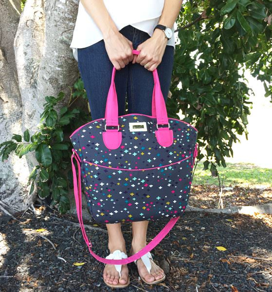 Grey with a pop of pink Creative's Tote - Andrie Designs