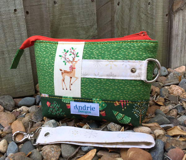 Back of the green Classic Clutch - Christmas in July - Andrie Designs