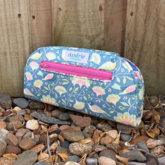 Outer coin pocket of finished Cleo Everyday Wallet - Tilda Harvest - Andrie Designs