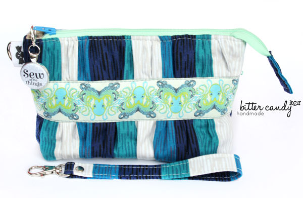 Navy striped octopus Gather Me Up Clutch - Andrie Designs