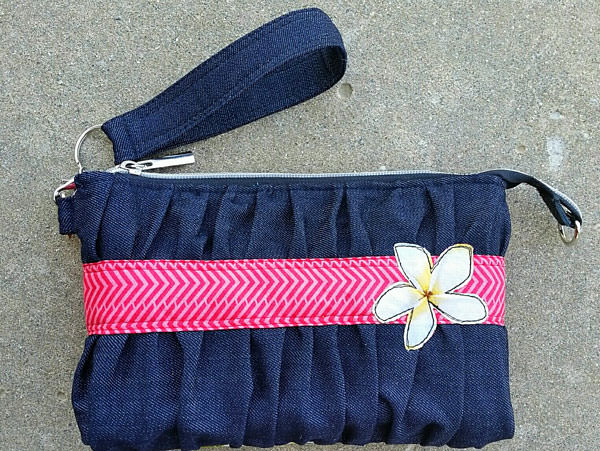 Denim and pink Gather Me Up Clutch - Andrie Designs