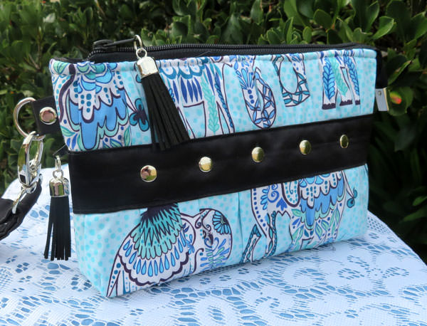 Blue elephants Gather Me Up Clutch - Andrie Designs