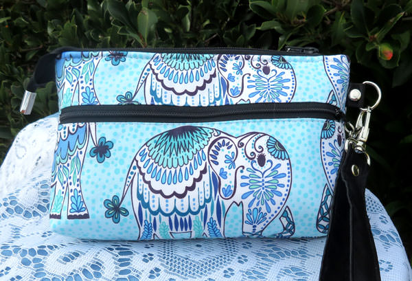 Back of the blue elephants Gather Me Up Clutch - Andrie Designs