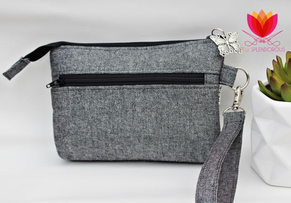 Back of the elegant grey Gather Me Up Clutch - Andrie Designs
