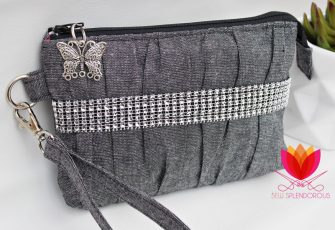 Elegant textured grey Gather Me Up Clutch - Andrie Designs