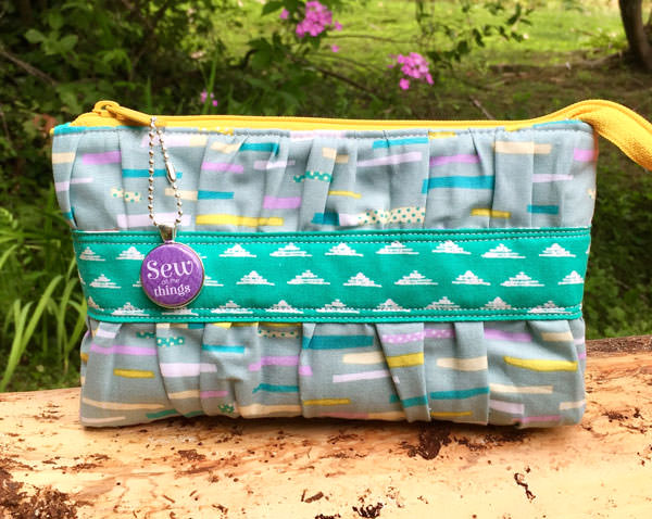 Teal and pastels Gather Me Up Clutch - Andrie Designs