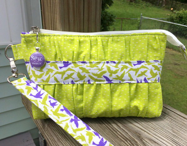 Lime green with a pop of purple Gather Me Up Clutch - Andrie Designs