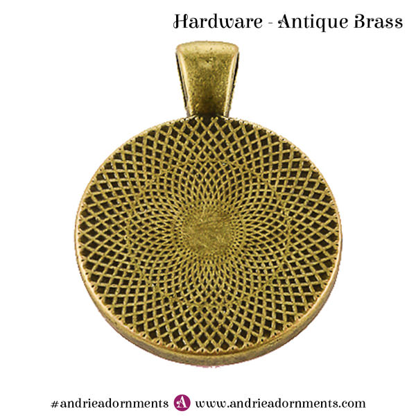 Back of Antique Brass Pendant - Andrie Adornments
