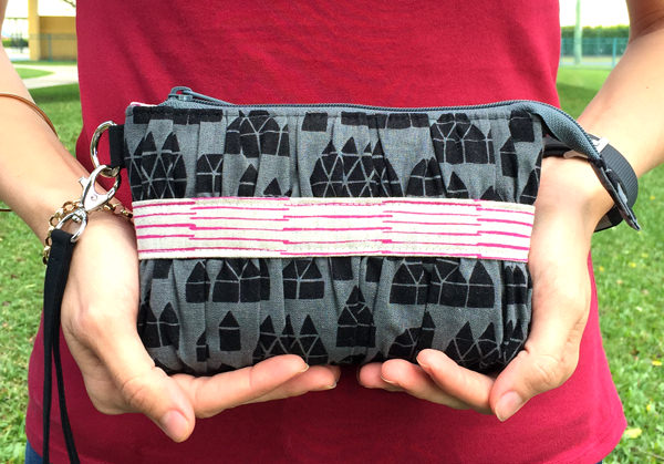 Stunning Gather Me Up Clutch made using Maker Maker fabric - Andrie Designs