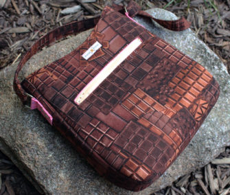 Check out that chocolate fabric on this Shades of Yesterday Tote Bag - Andrie Designs